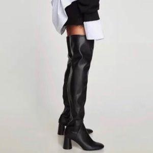 Zara Block heeled Over-the-knee Black Boots